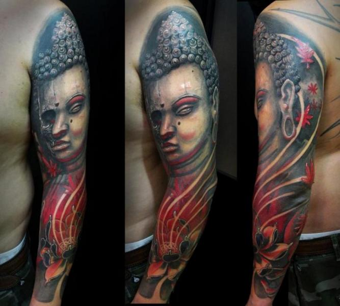 Shoulder Realistic Buddha Tattoo by Javier Tattoo