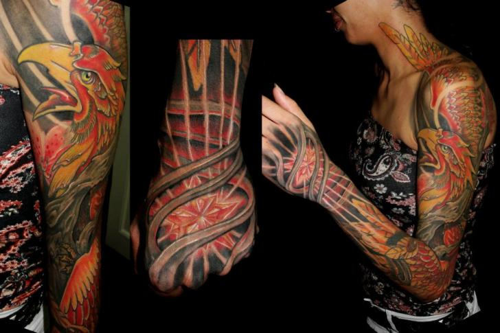 Fantasy Hand Neck Phoenix Sleeve Tattoo by Javier Tattoo