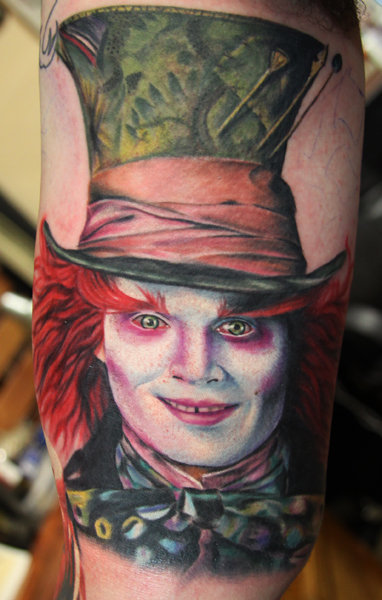 Arm Fantasy Portrait Johnny Depp Tattoo by Mick Squires