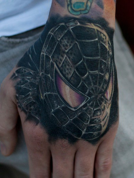 Fantasy Hand Spiderman Tattoo by Mick Squires