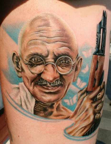 Portrait Realistic Thigh Gandhi Tattoo by Mick Squires