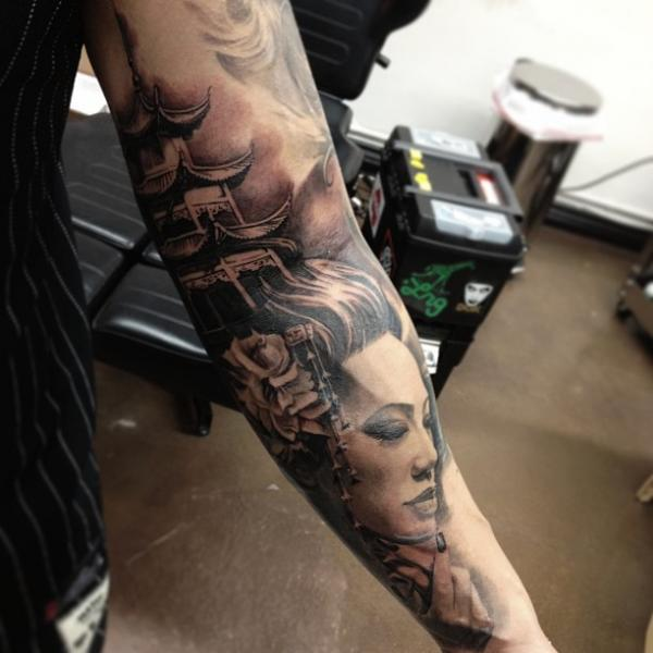 Arm Japanese Geisha Tattoo by Carlos Torres