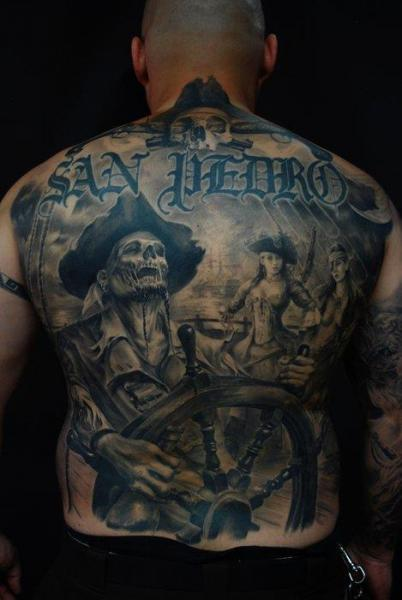 Fantasy Back Skeleton Pirate Tattoo by Carlos Torres