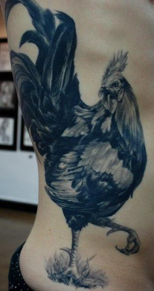 Realistic Side Rooster Tattoo by Carlos Torres