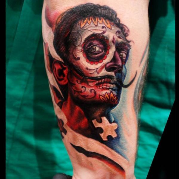 Arm Fantasy Mexican Skull Salvador Dali Tattoo by Logan Aguilar