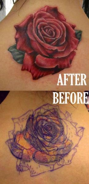Realistic Neck Rose Cover-up Tattoo by Logan Aguilar