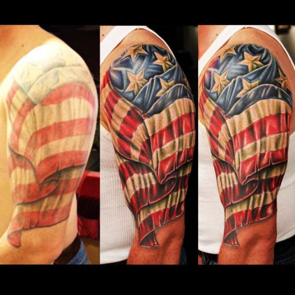 Shoulder Usa Flag Tattoo By Logan Aguilar