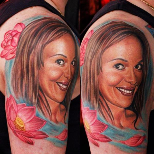 Shoulder Portrait Realistic Women Tattoo by Logan Aguilar