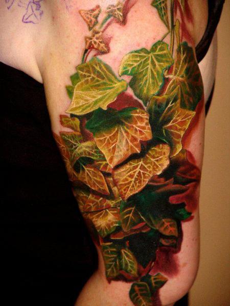 Arm Realistische Blätter Blatt 3d Tattoo von Boris Tattoo