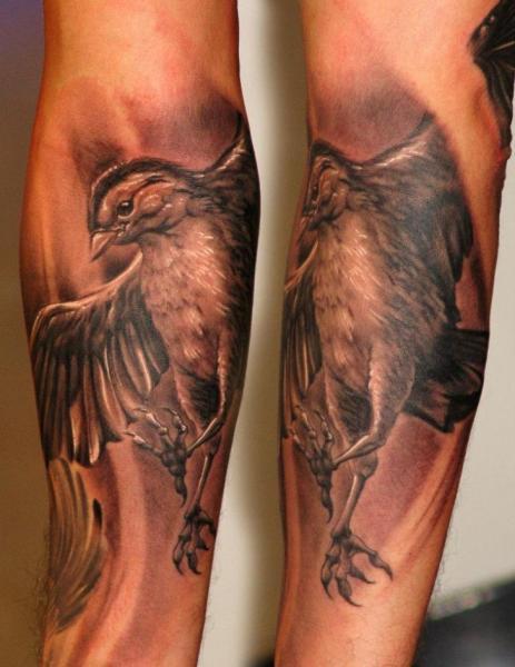 Arm Realistic Bird Tattoo by Boris Tattoo