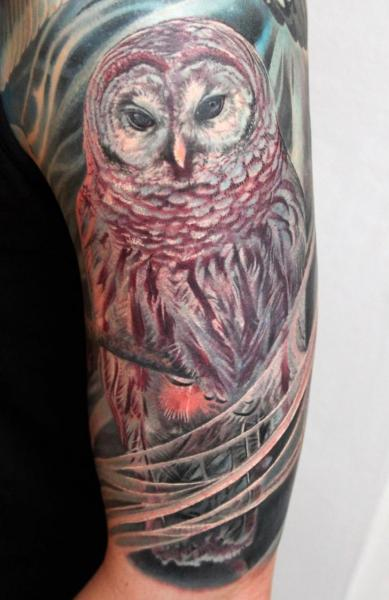 Arm Realistic Owl Tattoo by Boris Tattoo