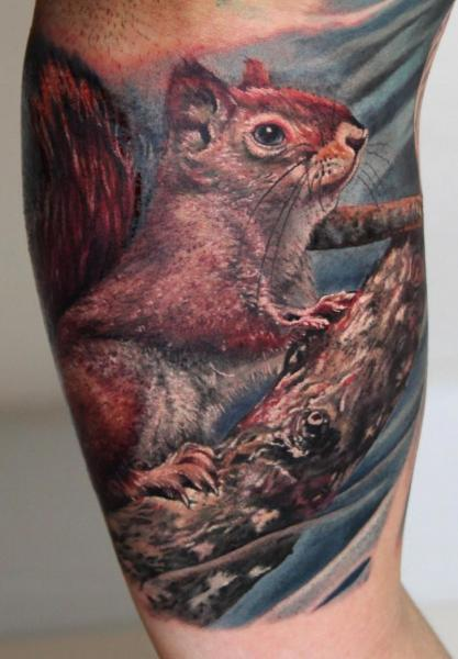 Arm Realistic Squirrel Tattoo by Boris Tattoo