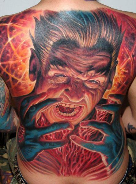 Fantasy Back Men Tattoo by Boris Tattoo