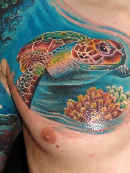 Chest Religious Turtle Tattoo by Boris Tattoo
