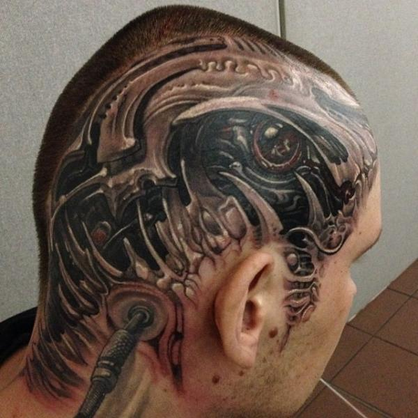 Biomechanical Head Tattoo by Boris Tattoo