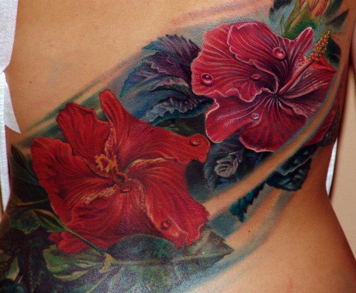 Realistic Flower Side Tattoo by Boris Tattoo