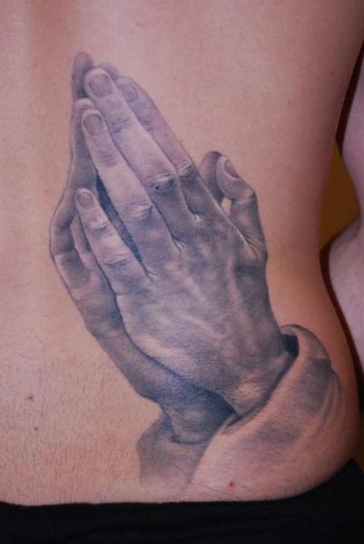 Side Praying Hands Tattoo by Evil Twins Tattoo