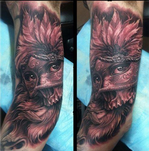 Arm Masken Tattoo von Josh Duffy Tattoo
