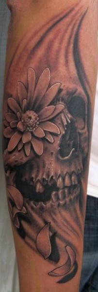 Arm Flower Skull Tattoo by Josh Duffy Tattoo