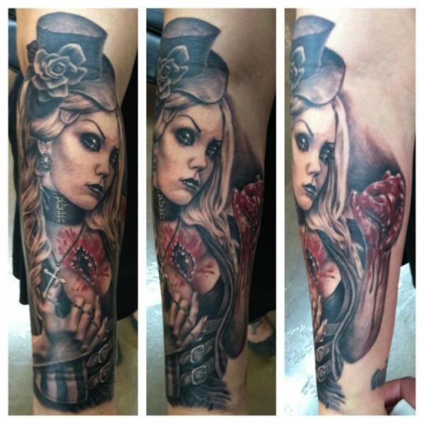 Arm Fantasy Women Tattoo by Josh Duffy Tattoo