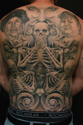 Back Skeleton Tattoo by Josh Duffy Tattoo