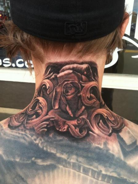 Realistic Flower Neck Tattoo by Josh Duffy Tattoo