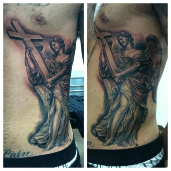 Side Angel Religious Tattoo by Josh Duffy Tattoo