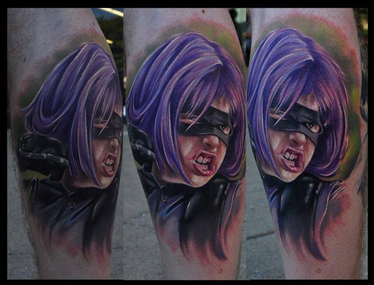 Fantasy Portrait Calf Women Tattoo by Venom Ink