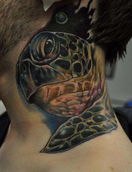 Realistic Neck Turtle Tattoo by Venom Ink