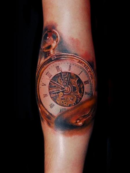 Arm Realistic Clock Tattoo by Ink-Ognito