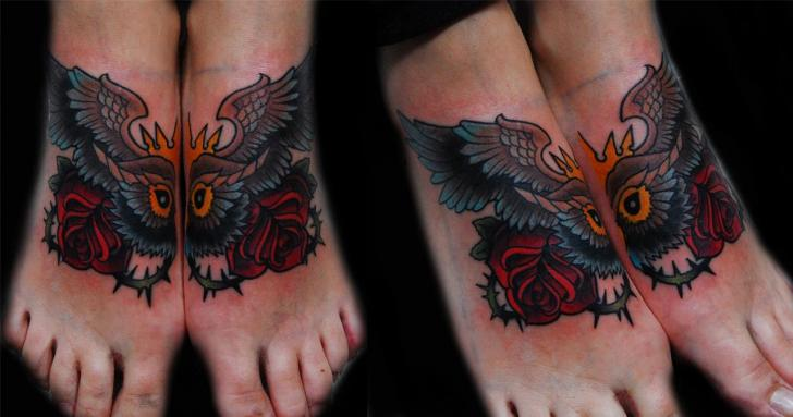 Old School Foot Owl Tattoo by Ink-Ognito