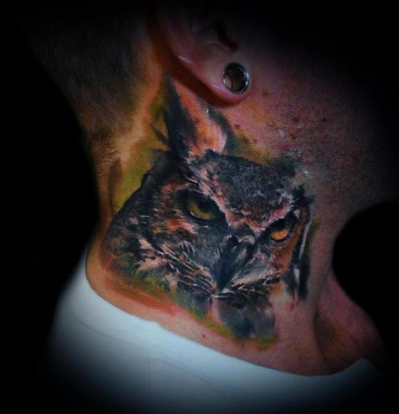 Realistic Neck Owl Tattoo by Ink-Ognito