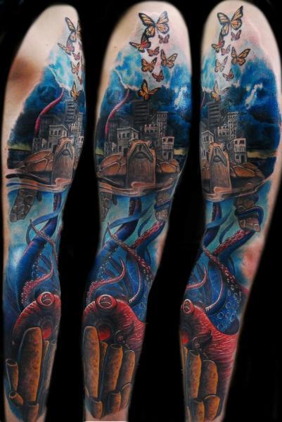 Fantasie Meer Oktopus Schildkröte Sleeve Stadt Tattoo von Ink-Ognito