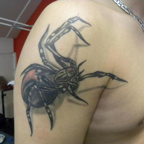 Shoulder Realistic Spider Tattoo by Art 4 Life Tattoo