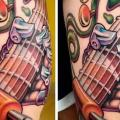 Robot Guitar Thigh tattoo by Art 4 Life Tattoo