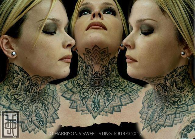 Neck Dotwork Tattoo by Jo Harrison
