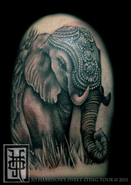 Realistic Elephant Tattoo by Jo Harrison