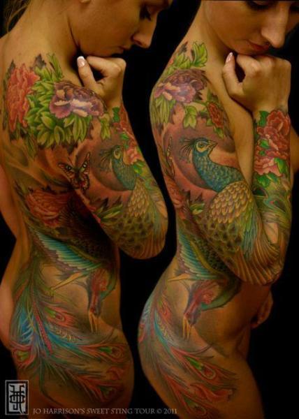 Shoulder Arm Leg Feather Side Peacock Butt Tattoo by Jo Harrison