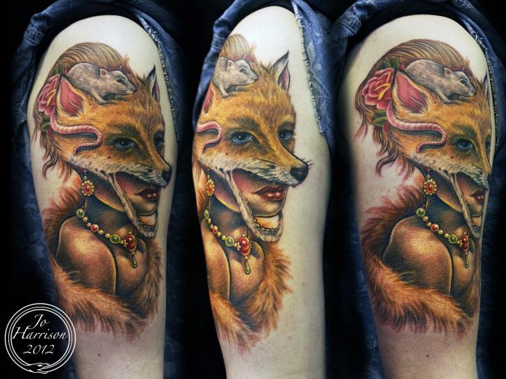 Shoulder Fantasy Women Wolf Mouse Tattoo by Jo Harrison
