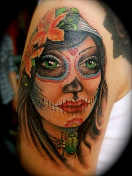 Shoulder Mexican Skull Tattoo by Jo Harrison