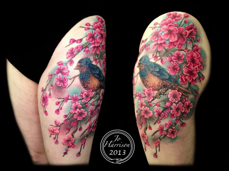Realistic Flower Cherry Bird Thigh Tattoo by Jo Harrison