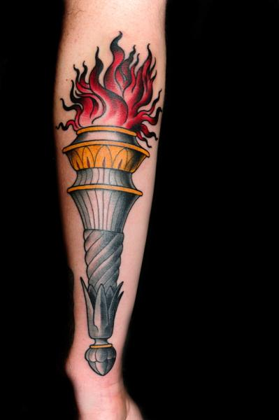 Arm Old School Flame Tattoo by Skull and Sword