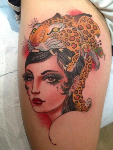 Women Tiger Thigh Tattoo by Skull and Sword
