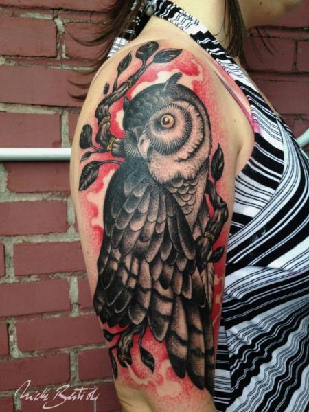 Arm Old School Owl Tattoo by Nick Bertioli