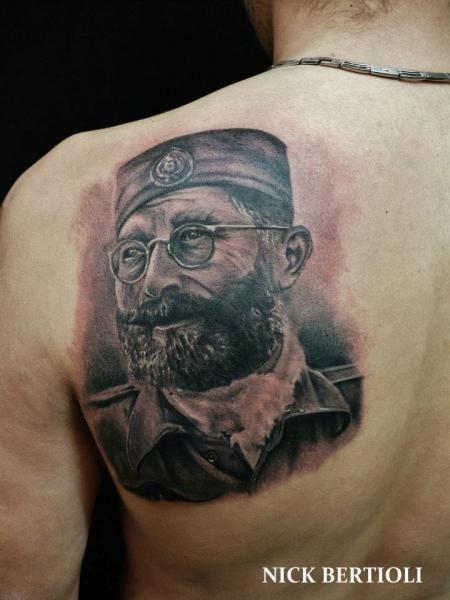 Portrait Realistic Back Tattoo by Nick Bertioli