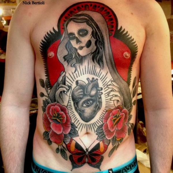 Chest Old School Heart Flower Religious Belly Tattoo by Nick Bertioli