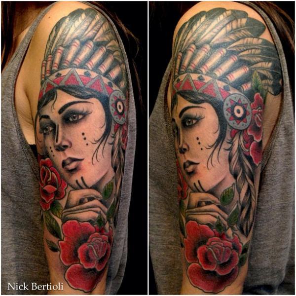 Shoulder Old School Indian Tattoo by Nick Bertioli