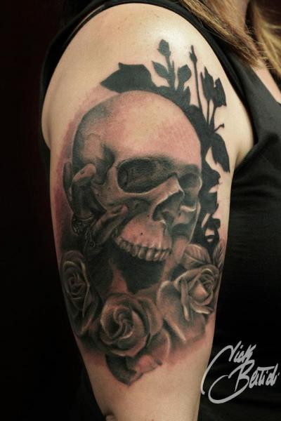 Shoulder Skull Tattoo by Nick Bertioli
