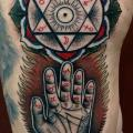 Fantasy Hand Symbol Thigh tattoo by Nick Bertioli
