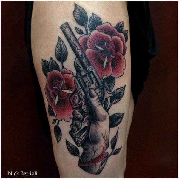 Old School Flower Gun Thigh Tattoo by Nick Bertioli